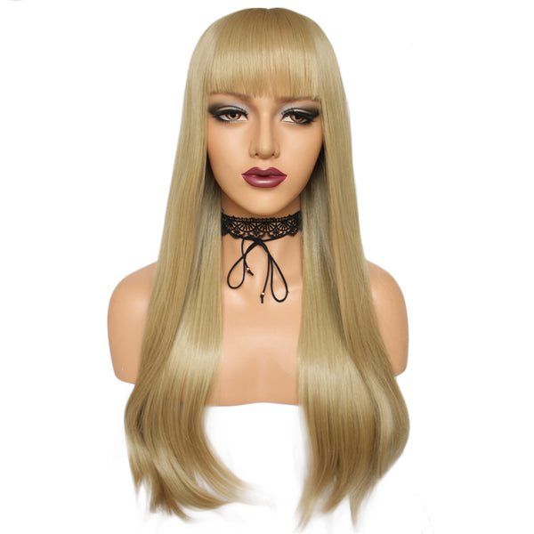 Natural honey blonde straight silk wig by Shiny Way Wigs Perth