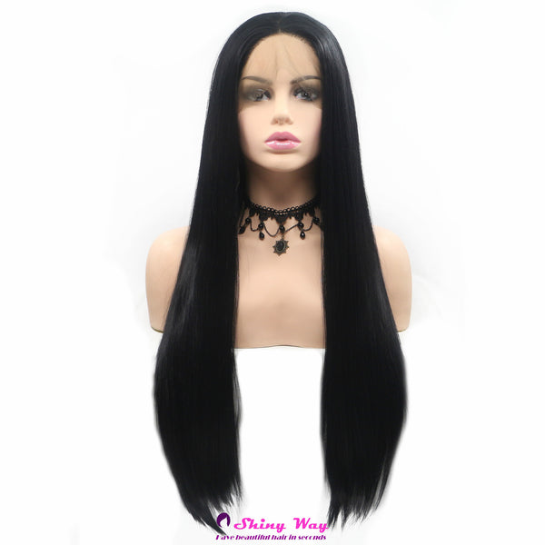 Natural black long straight Lace Front Wig - Shiny Way Wigs Sydney NSW