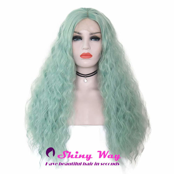 Mint Color Long Curly Lace Front Wig - Shiny Way Wigs Brisbane