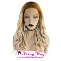 Blonde with Dark Roots Short Curly Lace Front Wig at Shiny Way Wigs