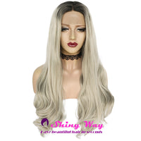 Platinum Blonde with Dark Roots Long Wavy Lace Wig at Shiny Way Wigs