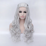 Natural silver long curly with braids costume wig Shiny Way Wigs Perth WA