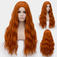 Red orange long curly wig without fringe by Shiny Way Wigs Sydney NSW