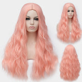 Baby pink long curly wig without fringe by Shiny Way Wigs Sydney NSW