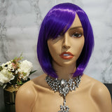 Dark purple side fringe short bob wig by Shiny Way Wigs Melbourne VIC