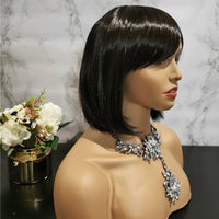 Natural chocolate brown side fringe bob wig by Shiny Way Wigs Perth WA