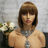 Wheat blonde full fringe short bob wig by Shiny Way Wigs Melbourne VIC