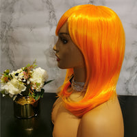 Bright orange long wavy costume wig by Shiny Way Wigs Sydney NSW