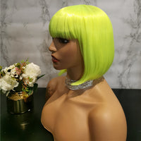 Bright green yellow full fringe short bob wig by Shiny Way Wigs Sydney