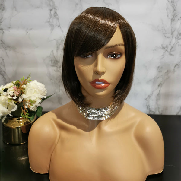 Natural light brown side fringe bob wig by Shiny Way Wigs Perth WA
