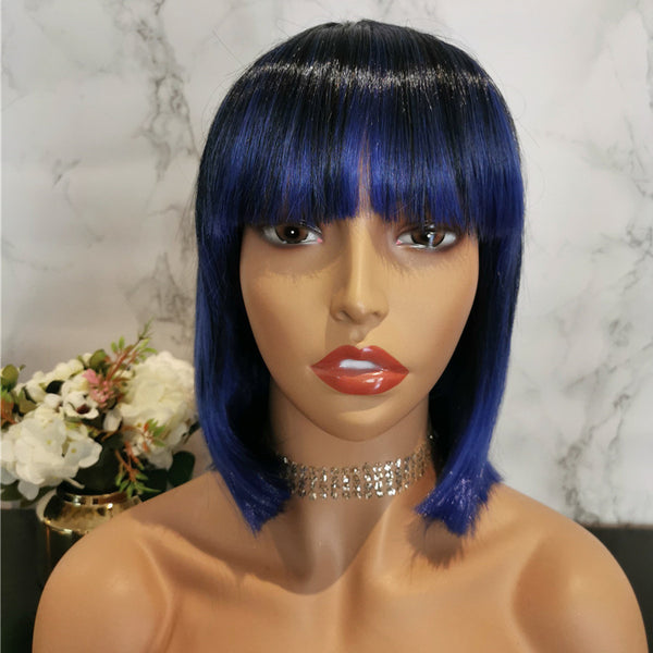 Blue with dark roots short bob wig by Shiny Way Wigs Melbourne VIC