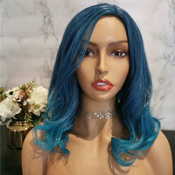 Blue with dark roots long wavy costume wig by Shiny Way Wigs Melbourne