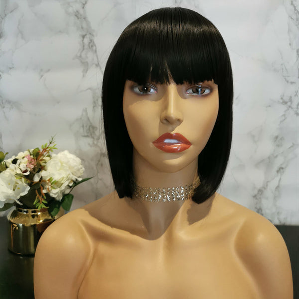 Natural black full fringe short bob wig by Shiny Way Wigs Brisbane QLD