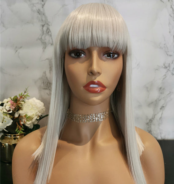 Natural white silver long straight wig by Shiny Way Wigs Melbourne VIC