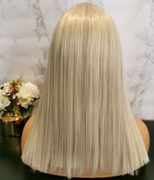 Natural white blonde long straight wig by Shiny Way Wigs Melbourne VIC