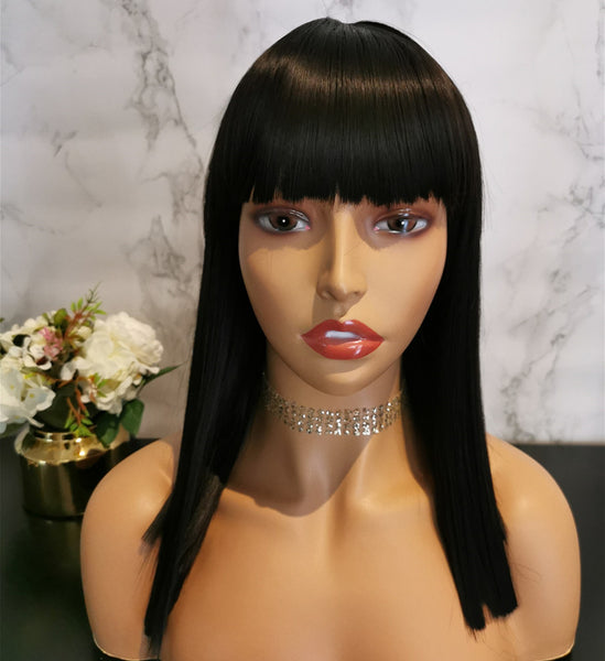 Natural black long fashion straight wig by Shiny Way Wigs Melbourne