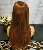 Natural orange brown long straight fashion wig by Shiny Way Wigs Perth