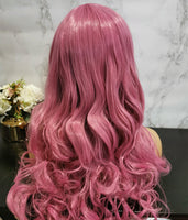 Pink long curly costume wig by Shiny Way Wigs Brisbane QLD