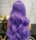 Purple long curly costume wig by Shiny Way Wigs Brisbane QLD