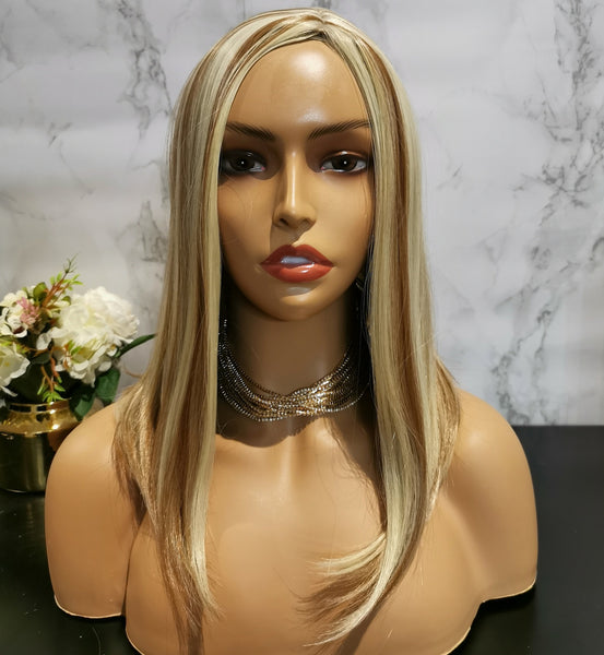 Natural blonde with highlights long wavy wig by Shiny Way Wigs Perth