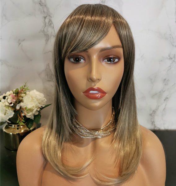 Natural ash blonde long wavy fashion wig by Shiny Way Wigs Melbourne