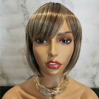 Natural ash blonde side fringe bob wig by Shiny Way Wigs Gold Coast