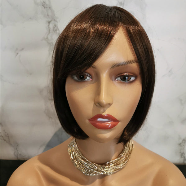 Natural medium brown side fringe bob wig by Shiny Way Wigs Perth WA