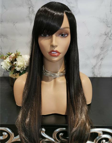 Dark brown with highlights long straight wig by Shiny Way Wigs Perth