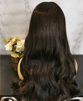 Natural off black long curly fashion wig by Shiny Way Wigs Melbourne