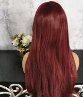 Natural cherry red long straight fashion wig by Shiny Way Wigs Perth