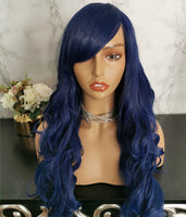 Black blue long curly costume wig by Shiny Way Wigs Melbourne VIC