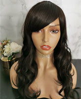 Natural off black long curly costume wig by Shiny Way Wigs Sydney NSW