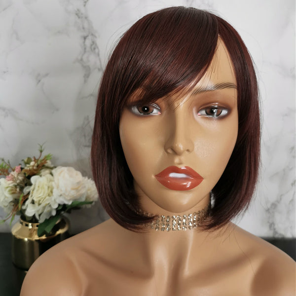 Natural wine red side fringe bob wig by Shiny Way Wigs Gold Coast QLD