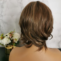 Brown with blonde highlights short wig by Shiny Way Wigs Melbourne VIC