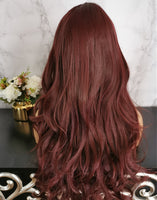 Natural wine red long curly costume wig by Shiny Way Wigs Sydney NSW
