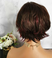 Natural reddish brown short wavy wig by Shiny Way Wigs Sydney NSW