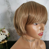Honey blonde with brown highlights short wig by Shiny Way Wigs Perth