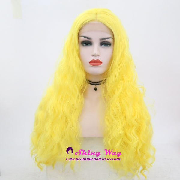 Bright Yellow Long Curly Lace Front Wigs - Shiny Way Wigs Perth