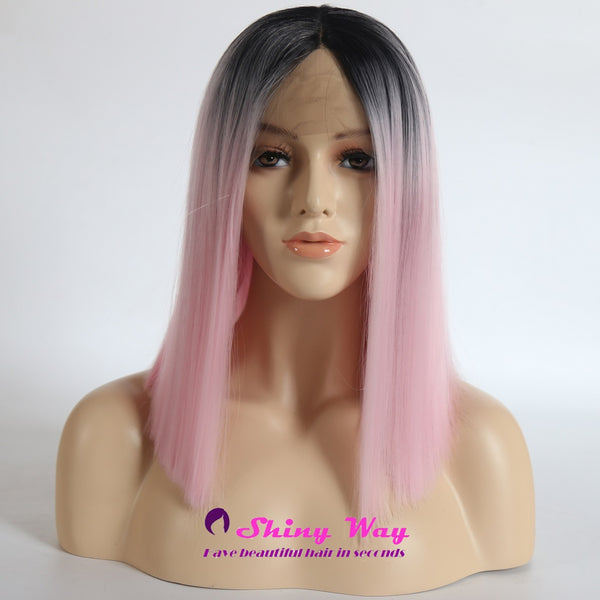 Dark Roots Pale Pink Short Straight Lace Wig - Shiny Way Wigs Brisbane