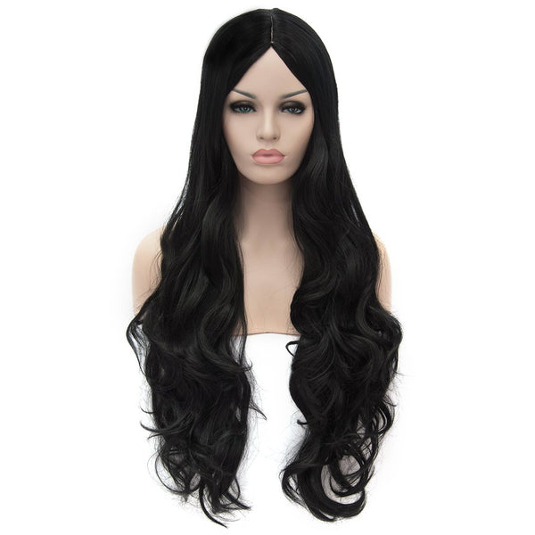Black middle part long curly wigs best price at Shiny Way Wigs Adelaide SA