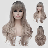 Dark roots white blonde long wavy wig by Shiny Way Wigs Melbourne