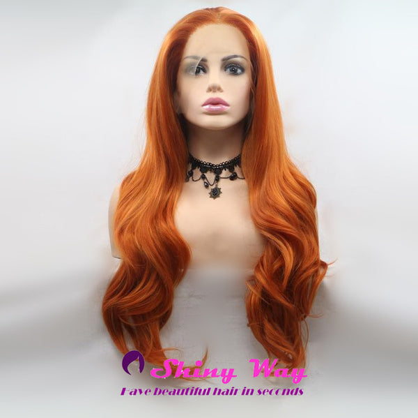 Natural Red Orange Long Wavy Lace Front Wig at Shiny Way Wigs Brisbane