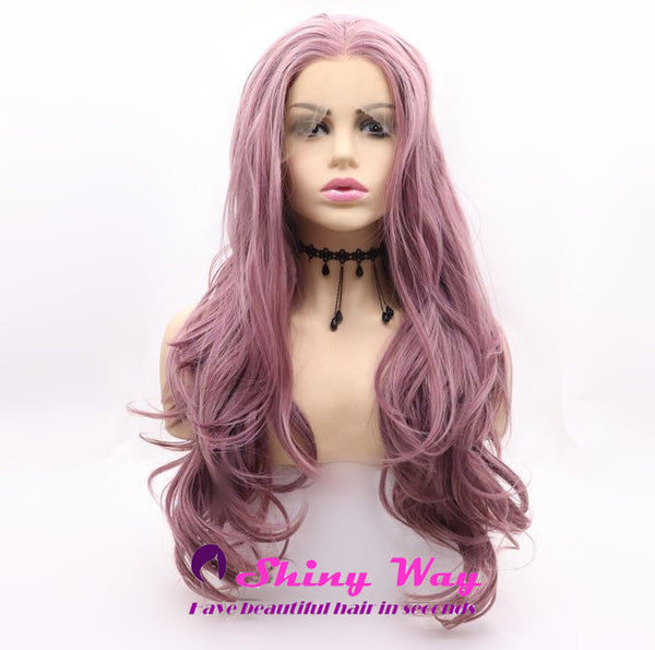 Natural Light Purple Long Wavy Lace Front Wig
