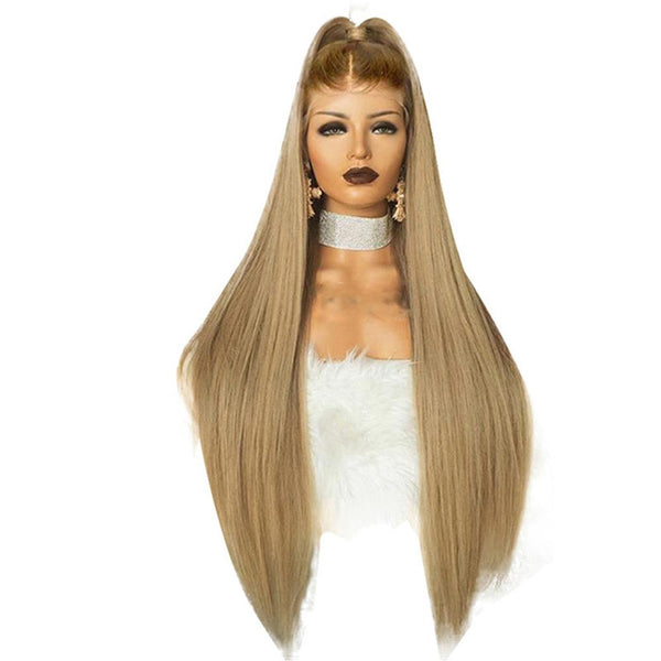 Honey Blonde with Dark Root Silk Straight Lace Front Wig at Smart Wigs QLD