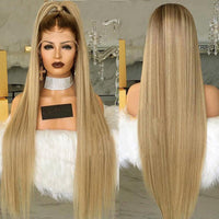 Honey Blonde with Dark Root Silk Straight Lace Front Wig at Smart Wigs Queensland
