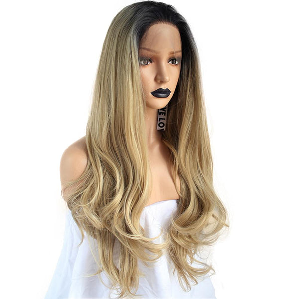 Honey Blonde with Dark Root Wavy Lace Front Wig at Smart Wigs Sydney