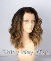 Omber Color Body Wavy Brazilian Virgin Human Hair Lace Wig - Shiny Way Wigs Melbourne VIC