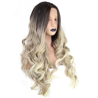 Ombre Blonde with Dark Root Long Wavy Lace Front Wig - Smart Wigs Sydney AU