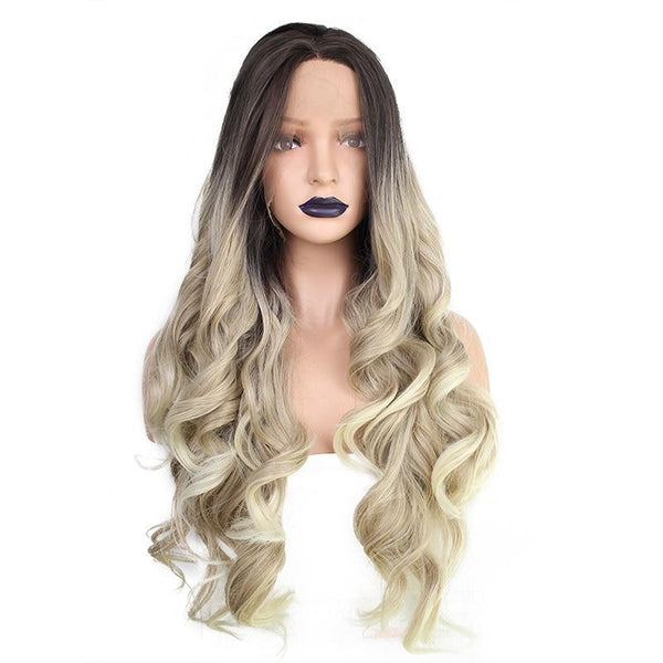Ombre Blonde with Dark Root Long Wavy Lace Front Wig - Smart Wigs Melbourne AU