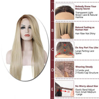Ombre Brown to Blonde Silk Straight Lace Front Wig - Smart Wigs Brisbane AU